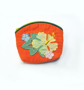 Quilted Coin Purse Small- Hibiscus & Monstera Orange Yellow