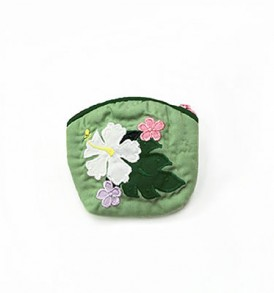 Quilted Coin Purse Small- Hibiscus & Laua'e Army White