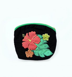 Quilted Coin Purse Small- Hibiscus & Laua'e Black Pink