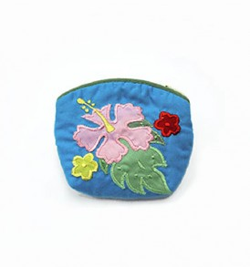 Quilted Coin Purse Small- Hibiscus & Laua'e Blue pink