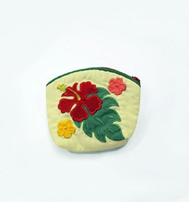 Quilted Coin Purse Small- Hibiscus & Laua'e Cream Red