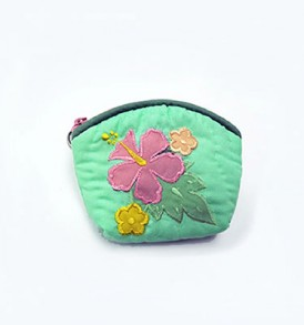 Quilted Coin Purse Small- Hibiscus & Laua'e Green Pink