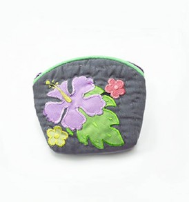 Quilted Coin Purse Small- Hibiscus & Laua'e Grey Purple