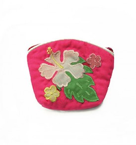 Quilted Coin Purse Small- Hibiscus & Laua'e Hot Pink