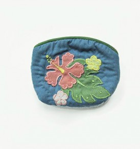 Quilted Coin Purse Small- Hibiscus & Laua'e Navy Pink