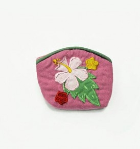 Quilted Coin Purse Small- Hibiscus & Laua'e Pink Light Pink