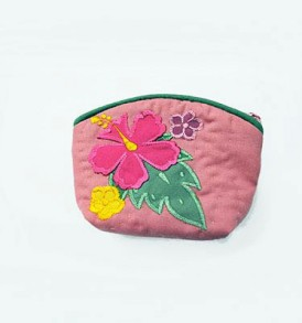 Quilted Coin Purse Small- Hibiscus & Laua'e Pink Pink