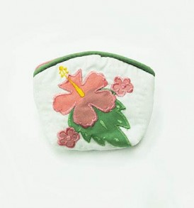 Quilted Coin Purse Small- Hibiscus & Laua'e White Pink