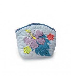 Quilted Coin Purse Small- Hibiscus & Laua'e Light Blue Purple