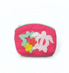 Quilted Coin Purse Small- Honu & Monstera Pink White