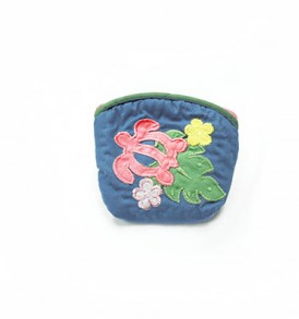 Quilted Coin Purse Small- Honu & Laua'e Blue Pink