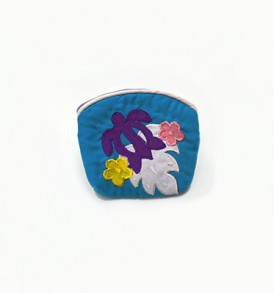Quilted Coin Purse Small- Honu & Laua'e Blue Purple