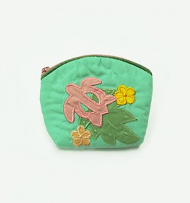 Quilted Coin Purse Small- Honu & Laua'e Green Pink