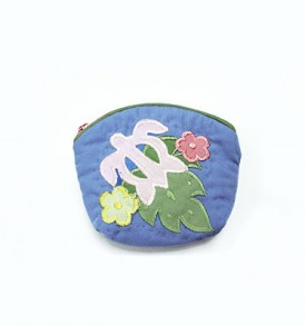 Quilted Coin Purse Small- Honu & Laua'e Heliotrope Pink