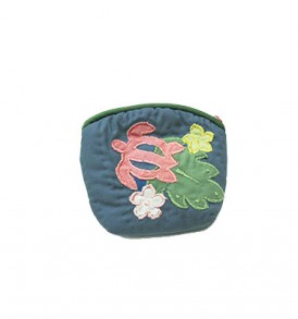 Quilted Coin Purse Small- Honu & Laua'e Navy Pink