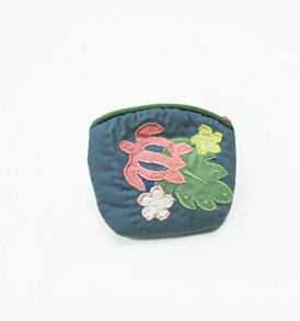 Quilted Coin Purse Small- Honu & Laua'e Light Navy Pink