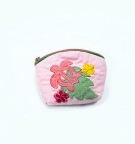 Quilted Coin Purse Small- Honu & Laua'e Light Pink Pink