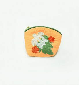 Quilted Coin Purse Small- Honu & Laua'e Orange White
