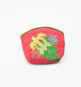 Quilted Coin Purse Small- Honu & Laua'e Pink Yellow