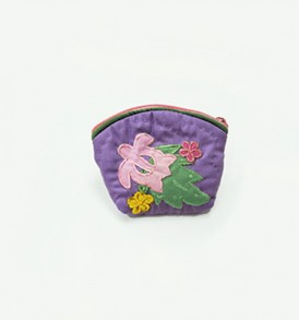 Quilted Coin Purse Small- Honu & Laua'e Purple Pink