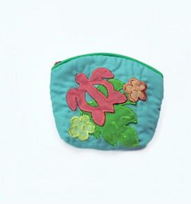 Quilted Coin Purse Small- Honu & Laua'e Turquoise Pink