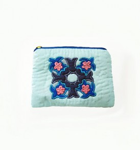Quilted Coin Purse Rectangle- Blue