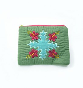 Quilted Coin Purse Rectangle – Green