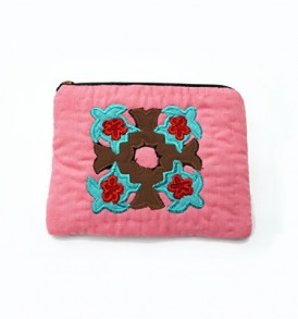 Quilted Coin Purse Rectangle – Pink