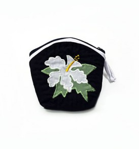 Quilted Coin Purse Middle – Hibiscus Black White