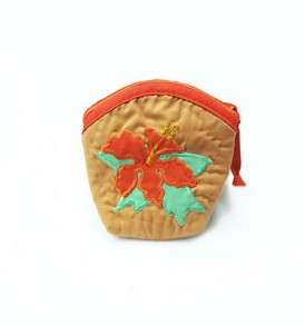 Quilted Coin Purse Middle – Hibiscus Brown Orange