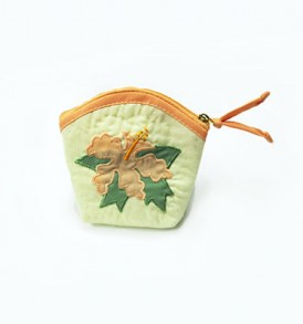 Quilted Coin Purse Middle – Hibiscus Cream Apricot
