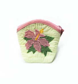Quilted Coin Purse Middle – Hibiscus Cream Pink