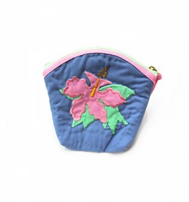 Quilted Coin Purse Middle – Hibiscus Heliotrope Pink