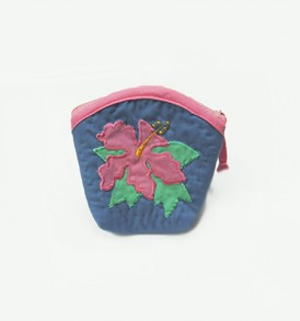 Quilted Coin Purse Middle – Hibiscus LightNavy Pink