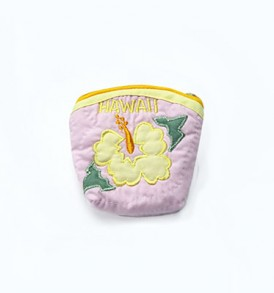 Quilted Coin Purse Middle – Hibiscus Pink Yellow