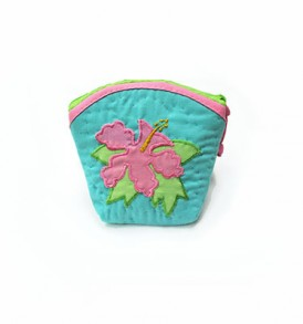 Quilted Coin Purse Middle – Hibiscus Turquoise Pink