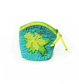 Quilted Coin Purse Middle – Hibiscus Turquoise Yellow