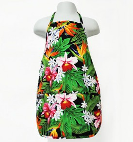 Kids Aprons – Bird of paradise Leaves Black