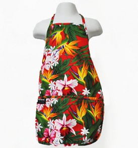 Kids Aprons – Bird of paradise Leaves Red