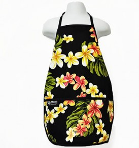 Kids Aprons – Cute Plumeria Black