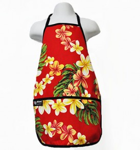 Kids Aprons – Cute Plumeria Red