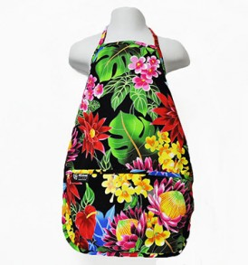 Kids Aprons – Hawaiian Garden Black