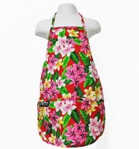Kids Aprons – Plumeria Leaves Red