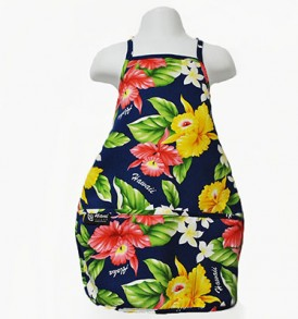 Kids Aprons – Orchid Plumeria Navy