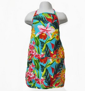 Kids Aprons – Tropical Blossom Blue