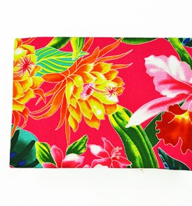 Canvas Coin Purse – Large Tropical Blossom Pink