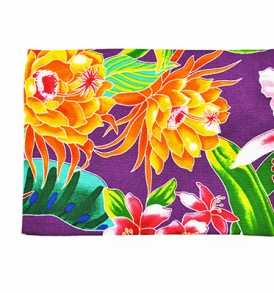 Canvas Coin Purse – Large Tropical Blossom Purple