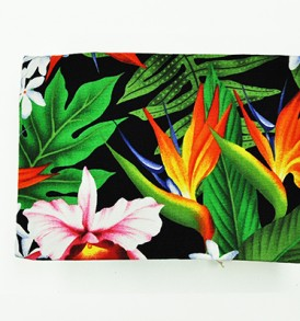 Canvas Coin Purse – Large Bird of Paradise Leaves Black