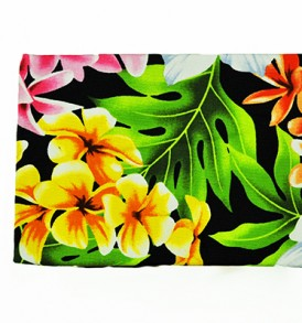 Canvas Coin Purse – Large Plumeria Orchid Black
