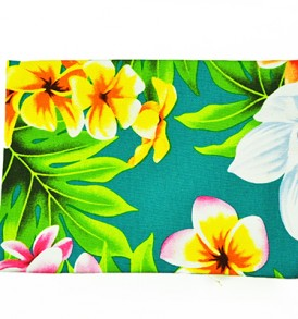 Canvas Coin Purse – Large Plumeria Orchid Teal
